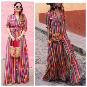 Dresses & Skirts - Rainbow Maxi Shirtdress